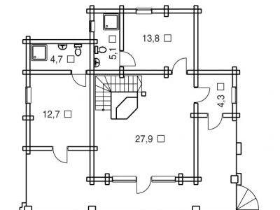 Чертеж дома из дерева 170 м2. План 1-ого этажа. Артикул: ВТ-ПД-2008/14.