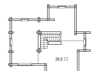 Чертеж дома из дерева 170 м2. План мансарды. Артикул: ВТ-ПД-2008/14.