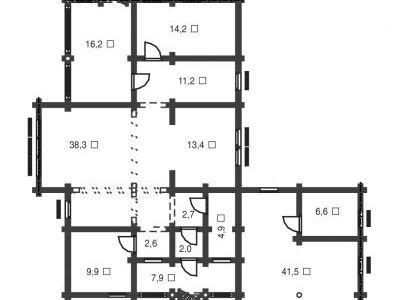 Чертеж дома из дерева 253,4 м2. План 1-ого этажа. Артикул: ВТ-ПД-2008/21.