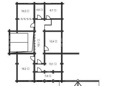 Чертеж дома из дерева 253,4 м2. План мансарды. Артикул: ВТ-ПД-2008/21.