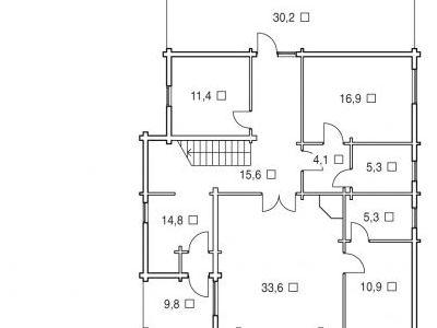 Чертеж дома из дерева 293,5 м2. План 1-ого этажа. Артикул: ВТ-ПД-2008/23.
