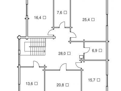 Чертеж дома из дерева 293,5 м2. План 2-ого этажа. Артикул: ВТ-ПД-2008/23.