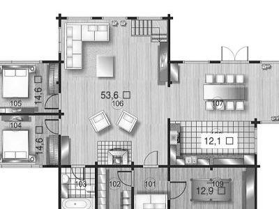Чертеж дома из дерева 294,7 м2. План 1-ого этажа. Артикул: ВТ-ПД-2008/24.