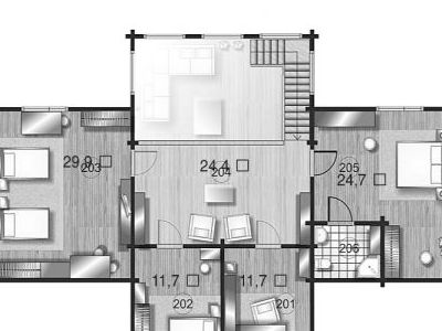 Чертеж дома из дерева 294,7 м2. План 2-ого этажа. Артикул: ВТ-ПД-2008/24.
