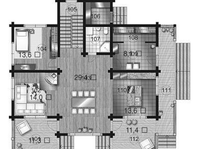 Чертеж дома из дерева 297,7 м2. План 1-ого этажа. Артикул: ВТ-ПД-2008/25.