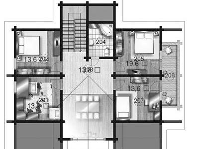 Чертеж дома из дерева 297,7 м2. План 2-ого этажа. Артикул: ВТ-ПД-2008/25.
