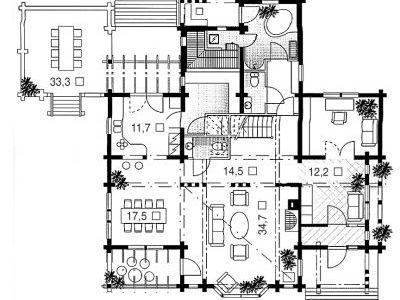 Чертеж дома из дерева 306,5 м2. План 1-ого этажа. Артикул: ВТ-ПД-2008/27.