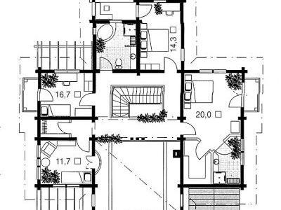 Чертеж дома из дерева 306,5 м2. План 2-ого этажа. Артикул: ВТ-ПД-2008/27.