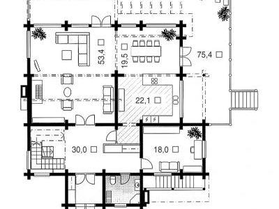 Чертеж дома из дерева 546,1 м2. План 1-ого этажа. Артикул: ВТ-ПД-2008/29.