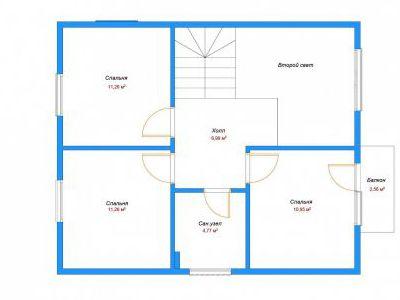 Чертеж дома из пенобетона 102,17 м2. План 1-ого этажа. Артикул: ДП-3.