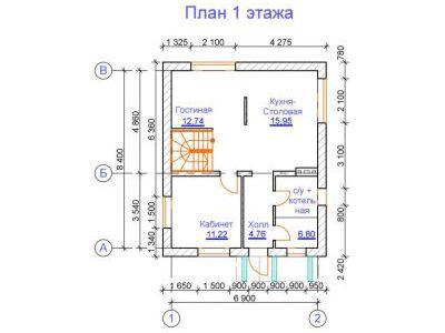 Проект дома из дерева 102,93 м2. План 1-ого этажа. Артикул: ЖД ПД-20140701.