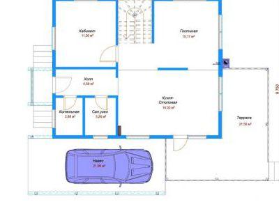 Чертеж дома из кирпича 114,32 м2. План 1-ого этажа. Артикул: ДП-4.