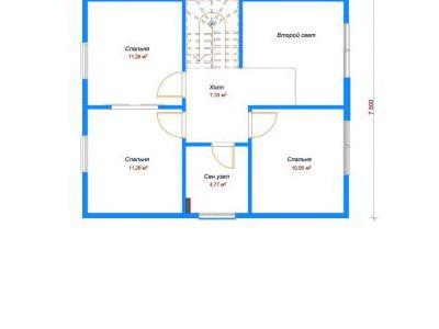 Чертеж дома из кирпича 114,32 м2. План 2-ого этажа. Артикул: ДП-4.