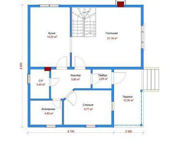 Чертеж дома из кирпича 133,43 м2. План 1-ого этажа. Артикул: ДП-5.