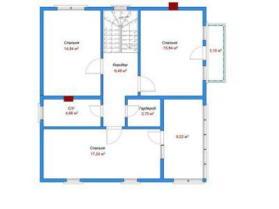 Чертеж дома из кирпича 133,43 м2. План 2-ого этажа. Артикул: ДП-5.