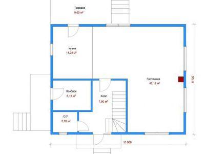 Чертеж дома из пенобетона 139,46 м2. План 1-ого этажа. Артикул: ДП-6.