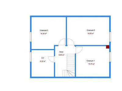 Чертеж дома из пенобетона 139,46 м2. План 2-ого этажа. Артикул: ДП-6.