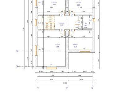 Чертеж дома из пенобетона 148,11 м2. План 2-го этажа. Артикул: ЖД КБ - 2-10-14.