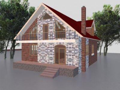 Проект дома из пенобетона 247,7 м2. 3 этажа. Артикул: ЖДПД 2-08/14.