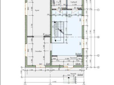 Чертеж дома из пенобетона 247,7 м2. План цоколя. Артикул: ЖДПД 2-08/14.