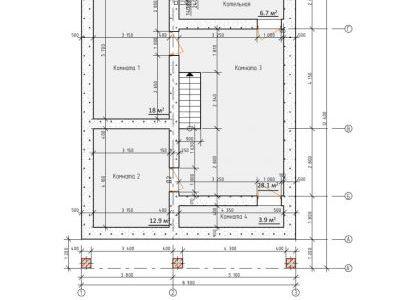 Чертеж дома из пенобетона 247,7 м2. План 1-го этажа. Артикул: ЖДПД 2-08/14.