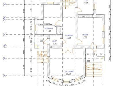 Чертеж дома из пенобетона 253,73 м2. План 1-го этажа. Артикул: ЖД ПБ - 20140501.