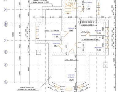 Чертеж дома из пенобетона 253,73 м2. План цоколя. Артикул: ЖД ПБ - 20140501.