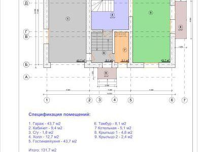 Чертеж дома из пенобетона 257 м2. План 1-ого этажа. Артикул: ЖД ПД 20150601.