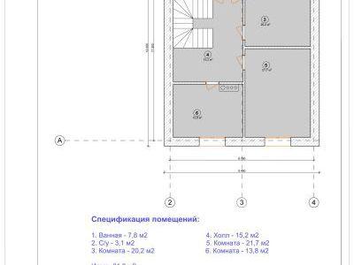 Чертеж дома из пенобетона 257 м2. План мансардного этажа. Артикул: ЖД ПД 20150601.