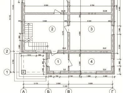 Чертеж дома из пенобетона 280 м2. План 1-ого этажа. Артикул: ДП-7.
