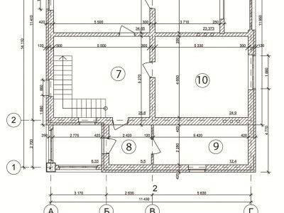 Чертеж дома из пенобетона 280 м2. План мансардного этажа. Артикул: ДП-7.