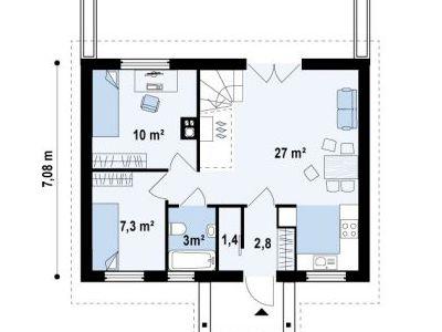 Чертеж дома из пенобетона 81,7 м2. План 1-ого этажа. Артикул: ДП-1.