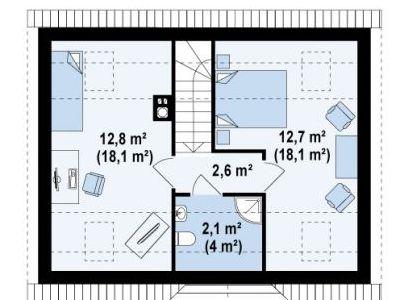Чертеж дома из пенобетона 81,7 м2. План 2-ого этажа. Артикул: ДП-1.