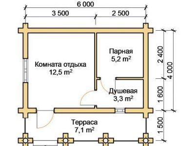 Чертеж бани из дерева 28,1 м2. План этажа. Артикул: ПБ-11012015.