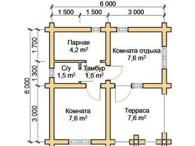 Чертеж бани из дерева 30 м2. План этажа. Артикул: ПБ-12012015.