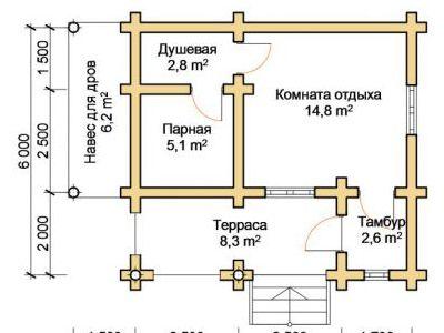 Чертеж бани из дерева 33,6 м2. План этажа. Артикул: ПБ-22012015.