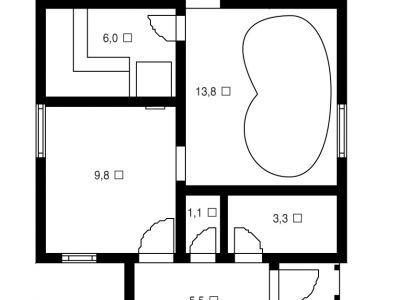 Чертеж бани из дерева 38,25 м2. Артикул: ВТ-ПБ-2008/4.