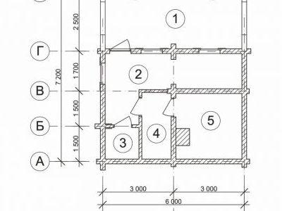 Чертеж бани из дерева 43,2 м2. Артикул: ВТ-ПБ-2008/3.