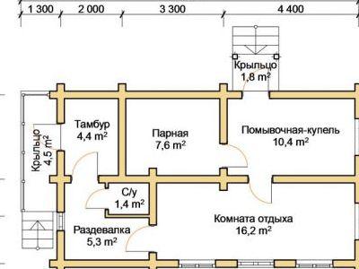 Чертеж бани из дерева 49,8 м2. План этажа. Артикул: ПБ-21012015.
