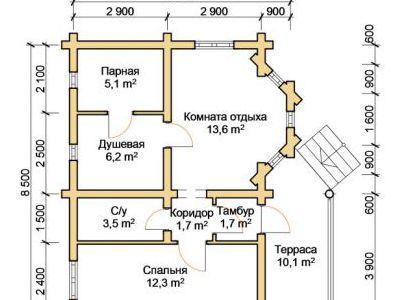 Чертеж бани из дерева 54,2 м2. План этажа. Артикул: ПБ-20012015.