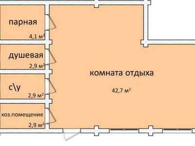 Чертеж бани из дерева 55,5 м2. План этажа. Артикул: ПБ-20150616.