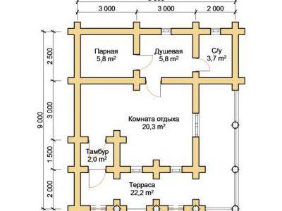 Чертеж бани из дерева 59,8 м2. План этажа. Артикул: ПБ-18012015.