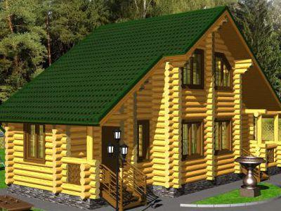 Проект бани из дерева 60,9 м2. 2 этажа. Артикул: ПБ-25012015.