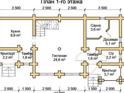 Чертеж бани из дерева 60,9 м2. План 1-го этажа. Артикул: ПБ-25012015.
