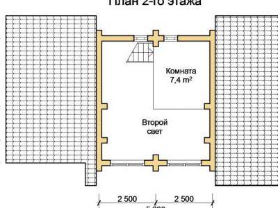 Чертеж бани из дерева 60,9 м2. План 2-го этажа. Артикул: ПБ-25012015.