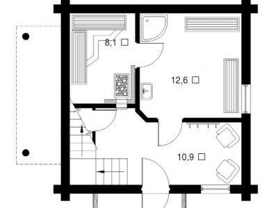 План первого этажа. Чертеж бани из дерева 64,9 м2. Артикул: ВТ-ПБ-2008/6.
