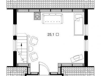 План мансарды. Чертеж бани из дерева 64,9 м2. Артикул: ВТ-ПБ-2008/6.