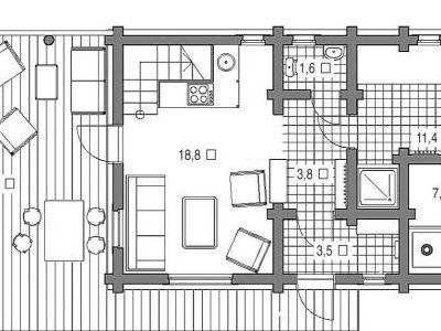 План первого этажа. Чертеж бани из дерева 108,5 м2. Артикул: ВТ-ПБ-2008/7.
