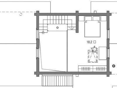 План второго этажа. Чертеж бани из дерева 108,5 м2. Артикул: ВТ-ПБ-2008/7.